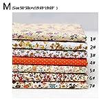 7 piezas de tela de algodón con estampado floral para costura de patchwork, costura DIY