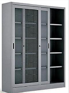 Armoire en métal pour bureau, armoire métallique, 120 x 60 x 200 cm, portes à mailles métalliques.