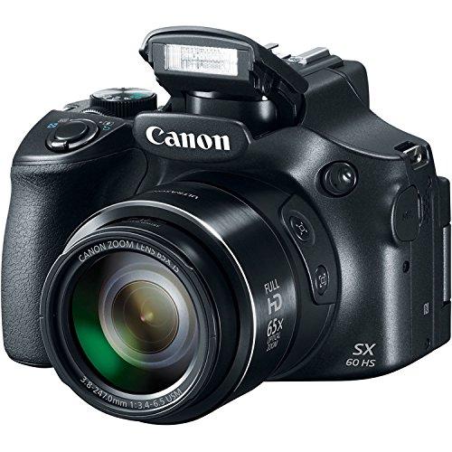 Canon Powershot SX60 16.1MP Digital Camera 65x Optical Zoom Lens 3-inch LCD Tilt Screen (Black)
