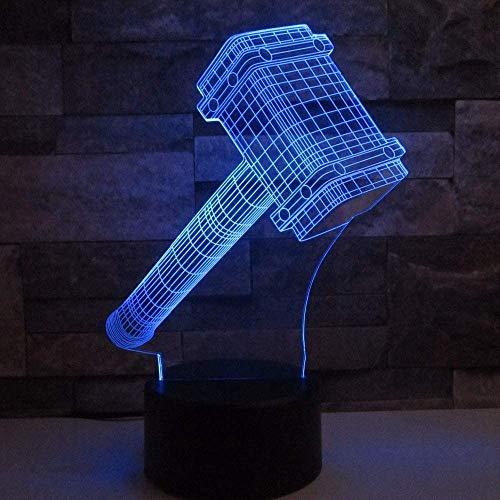 3D nachtlampje LED hamervorm illusie lamp decoratie bedlampje ideaal geschenk voor kinderen jongens en meisjes zoals op verjaardagen of kerstvakanties