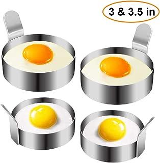 Egg Ring, Stainless Steel Omelet Mold Non Stick Pancake Ring Mold for Frying Egg, Egg Circles for Griddle (2 Sizes, 4 Pack)