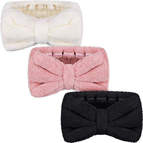 3 Pack Microfiber Bowtie Headbands Makeup Headbands Wash Spa Yoga Sports Shower Facial Adjustable Hair Band for Girls and Women (White, Yellow, Green)
