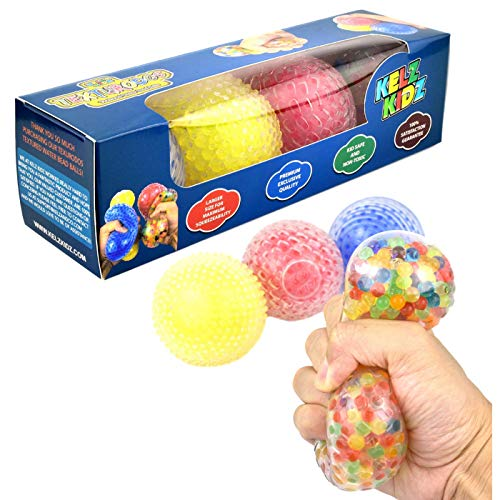 KELZ KIDZ Texturodos Textured Sensory Water Bead Balls - Durable Large Stress Ball Toy Set for Kids and Adults (4 Pack) Patent Pending
