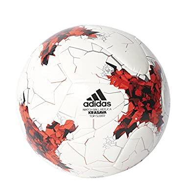 adidas Performance S1706LSB001TGLI Confederations Cup Top Glider Soccer Ball, White/Red/Power Red/Clear Grey, Size 5