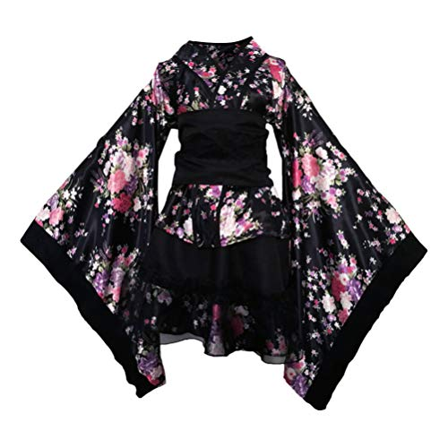 TENDYCOCO Kimono para Mujer japonés Yukata Sakura patrón Traje Cosplay Traje -l (Negro)