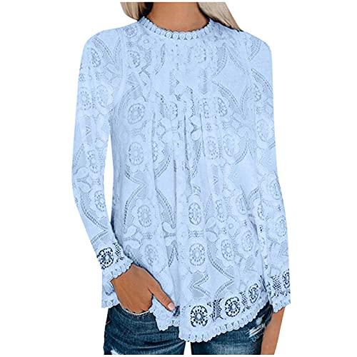YANFANG Blusas para Mujer,Top De Manga Larga Transpirable Encaje Mujer,Camiseta Corta Mujer,Camisetas Mujer Corta,Camisetas Casual Corta,Jersey,Azul Claro,XL