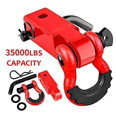 """AUTOBOTS Tow Hitch Receiver 2"""", 35,000 Lbs Break Strength Heavy Duty Receiver with 5/8"""" Screw Pin, 3/4 Shackle, Towing Accessories for Vehicle Recovery Off-Road Red&Red"""
