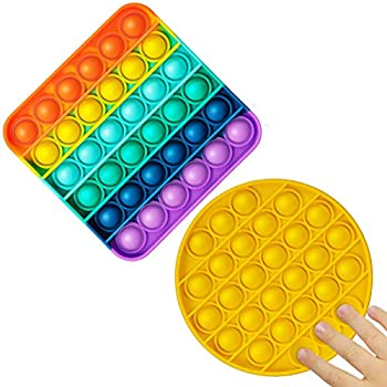 Push Pop Bubble Rainbow Fidget Sensory Irritability Toy Set Autism Special Needs Stress Reliever Popping It Silicone Squeeze Toys Washable & Reusable Anxiety Relief Game Toys for Kids Teens Adults
