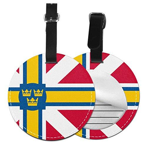 Skandinavische Flagge, rund, Gepäckanhänger, Gepäckanhänger, Gepäckanhänger, Sichtschutz, Schwarz (Schwarz) - 5063178175685