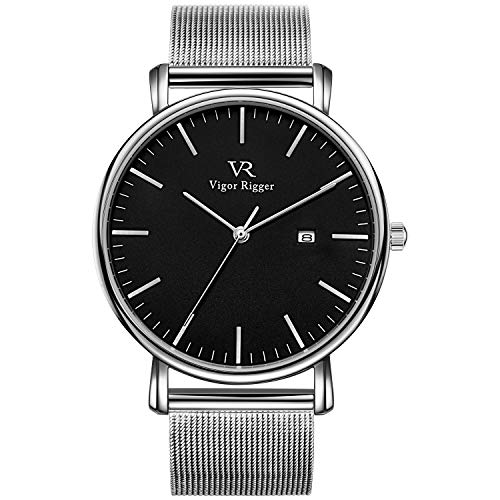 Vigor Rigger Herren Uhren Damen Armbanduhr Dünne schwarz Quarzuhr mit Silberner Zeiger Datum Kalender und Silber Edelstahl Mesh-Armband