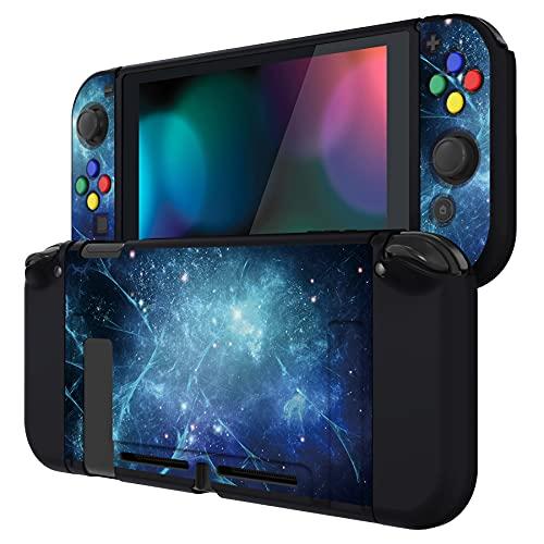 PlayVital Protector para Nintendo Switch Carcasa con Tapas de Botón Estuche Delgado de TPU Suave Funda para Nintendo Switch JoyCon&Consola Incluye Colorido ABXY Dirección Botón Caps(Nebulosa Azul)