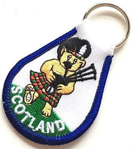 Scotland Bag Piping Teddy Bear Embroidered Key Ring Fob with Gift Bag