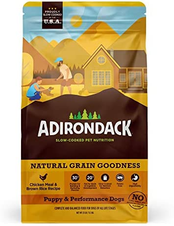 Adirondack Puppy Food For Puppies and Performance Dogs Made in USA [High Protein Dog Food For All Breeds and Sizes], Chicken Meal & Brown Rice Recipe, Resealable Bag