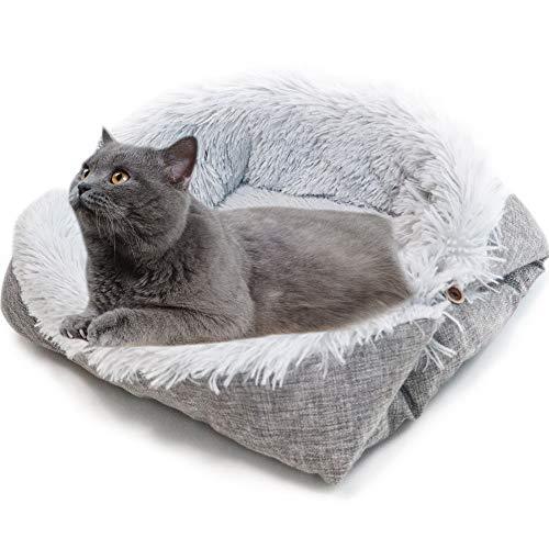 XIAQIU Katzenbett Waschbare 2 in 1 Katzenbett Plüsch Weich Runden Schlafen Katzensofa Flauschige Katzenbett Klein Hund Bett Katzendecke Haustierbett katzenbettchen Betten für Katzen