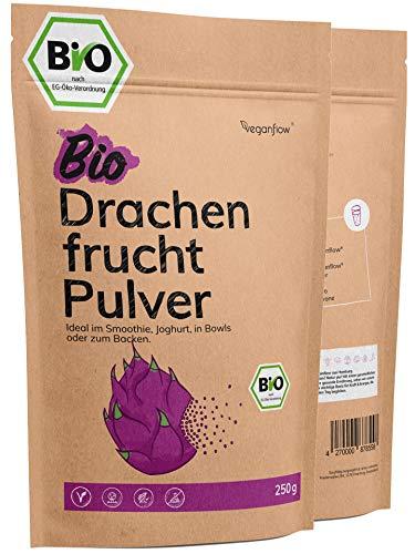 veganflow® Drachenfrucht Pulver Bio 250g, gefriergetrocknet und 100 % Pitaya-Pulver für Smoothies, Frucht-Pulver für die Bowl, vegan
