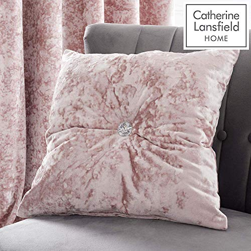 Catherine Lansfield Crushed Velvet 45 x 45 cm Filled Cushion Blush