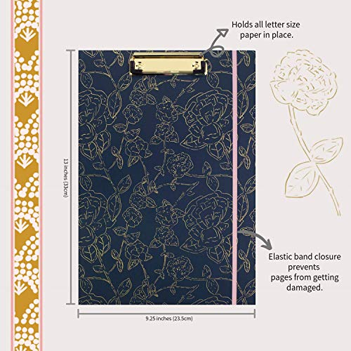 Steel Mill & Co Cute Clipboard Folio with Refillable Lined Notepad and Interior Storage Pocket for Women, Stylish Metallic Gold Floral on Navy Design Clipfolio, Navy Floral Photo #4