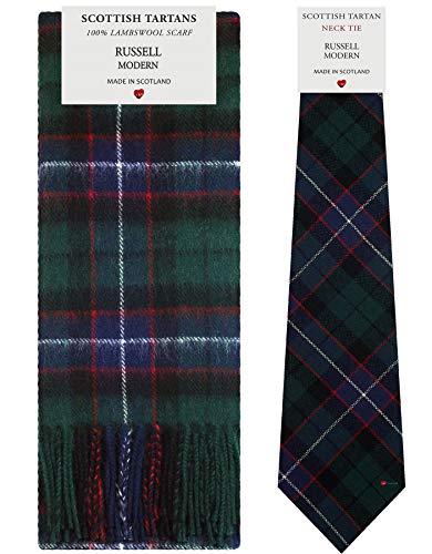 Pañuelo de lana de cordero a cuadros de tartán moderno Russell Set de regalo