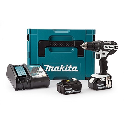 Makita DHP482RFWJ Combi Drill (Black and White Edition) 18 V with 2 x 3.0 Ah Batts and DC18RC Charger in a MakPac Case