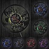 wszhh Reloj de Pared con Disco de Vinilo con Espada y Escudo Vikingo de Dios de la mitología nórdica, Reloj de Pared con Adorno Vintage nórdico escandinavo Celta, con Led
