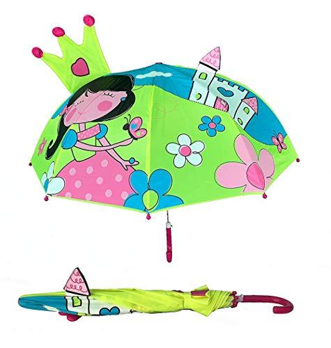 Paraguas en 3D para niños con princesa | Princesa con corona y varita mágica | Paraguas y sombrilla para niños y niñas | Para niños en edad escolar y para el jardín de infancia | Impermeable y protecc