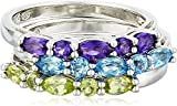 Rhodium-Plated Sterling Silver Genuine African Amethyst, Swiss Blue Topaz and Peridot Stacking Rings (Set of 3), Size 7
