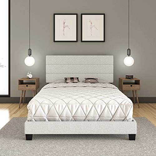 Boyd Sleep Montana Tri-Panel Upholstered Platform Bed Frame Mattress Foundation with Linen Headboard and 4-Slat Supports, Requires Box Spring: White, Queen Size