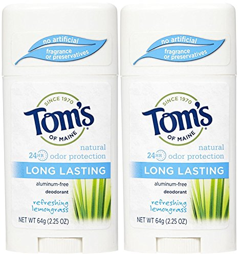 Tom's of Maine Long-Lasting Care Deodorant Stick, Lemongrass - 2.25 oz - 2 pk