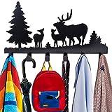 Coat Hooks Wall Mounted, Kathy Metal Towel Hook Rack Moon Cloud Animal Deer Hanger for Bathrooms Door Hanging Key Robe Bag Umbrella- 6 Hooks, black