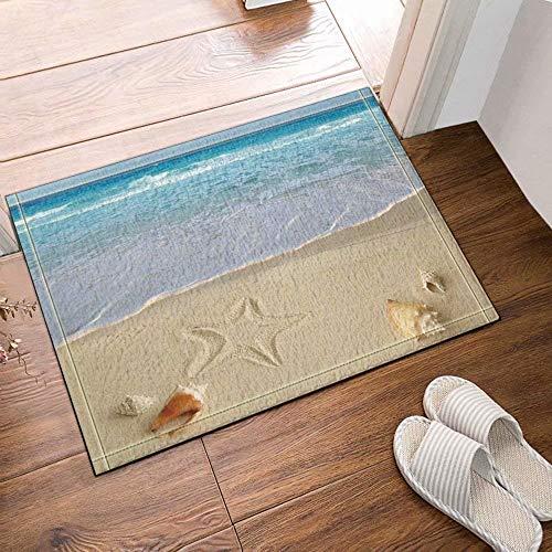 Décoration de plage étoile de mer de conque en bord de mer Tapis de salle de bain tapis de porte anti-glisse entrée de sol tapis de porte d