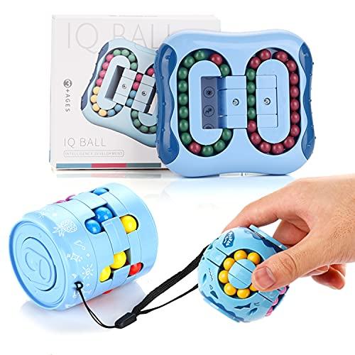 Herefun 3pcs Magic Bean Cube, Rotating Cube Stressabbau Spielzeug, Sensorisches Spielzeug, Kreatives Lernspielzeug für Kinder und Erwachsene (Blau)