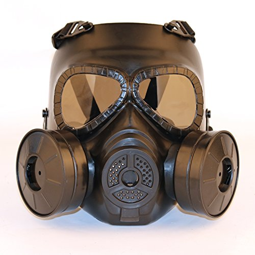 SGOYH Dummy Smoked Lens Anti Gas Mascarilla Facial con Doble Turbo Fan Tactical Airsoft Paintbal Protection Gear