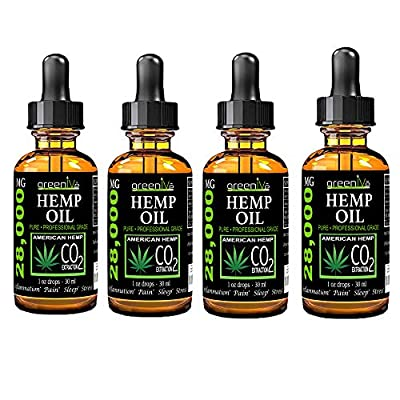 (4 Pack) GreenIVe 28,000mg Hemp Oil Anti-Inflammatory, Rapid Pain Relief, Stress Reducer, Vegan Omegas C02 Extraction Exclusively on Amazon (4 Pack) from Greenive
