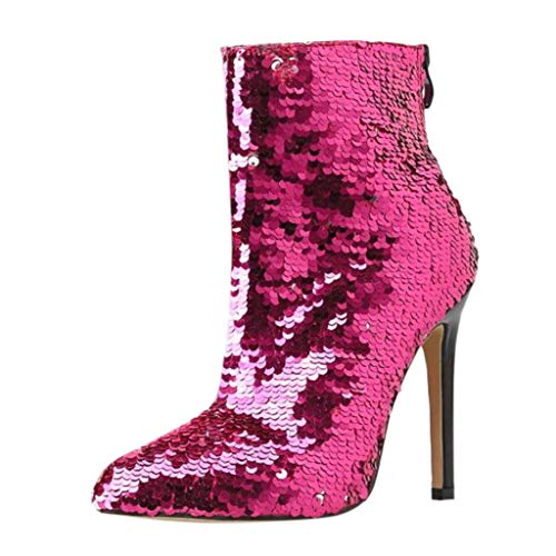 MOTOCO Damen Stilett Bsatz Stiefeletten Frauen Mode Pailletten Stage Heel Reißverschluss Booties Kurze Schuhe(40 EU,Pink)