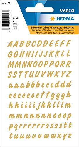 HERMA 4152 Buchstaben Aufkleber A - Z, wetterfest (Schriftgröße 8 mm, 2 Blatt, Folie) selbstklebend, permanent haftende Alphabet Sticker, 238 Etiketten, transparent / gold