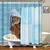 HALOViE Duschvorhang Anti-Schimmel Shower Curtain Duschvorhänge in Polyester Wasserdicht 180 * 180CM