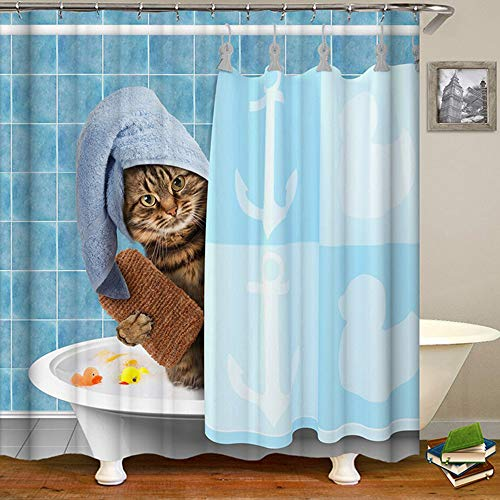 HALOViE Duschvorhang Anti-Schimmel Shower Curtain Duschvorhänge in Polyester Wasserdicht 180 * 180CM