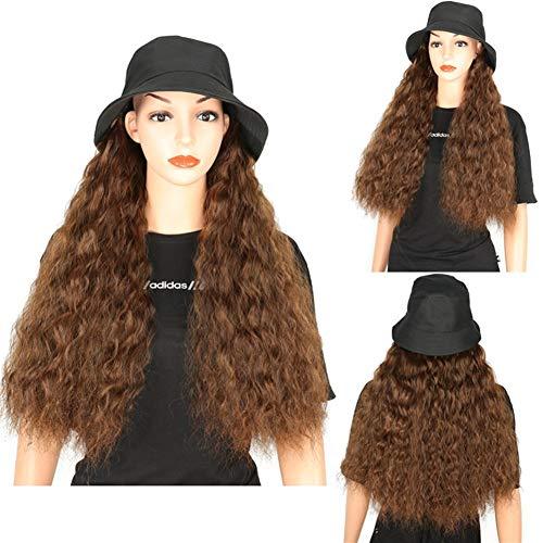 Nouveau Chapeau de béret Longue Perruque de Cheveux bouclés Populaire Laine Roll Corn Corn Perruque Duveteuse Chaude (Size : Light Brown-56CM)