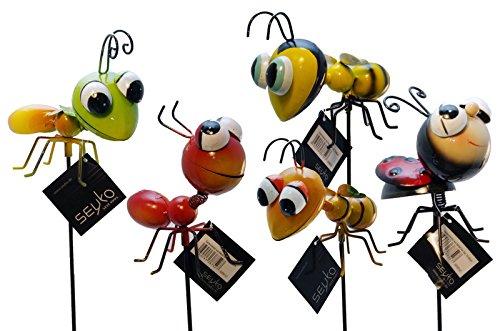 1x Gartenstecker aus Metall Insekt H 75-80 cm gelb orange grün rot (1 Stück)