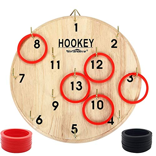 Win SPORTS Hook and Ring Toss Game for Kids & Adults – Hookey,Outdoor and Indoor Fun, Exciting Gift Idea, Safe & Durable Design – Includes 13 Metal Hooks and 14 Rubber Rings