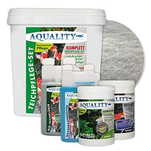 AQUALITY 5er Teichpflege Komplettset (Perfekte Gartenteich-Pflege. Wasseraufbereiter, Teichklärer, Teich-Aktiv und Fadenalgen-Vernichter + GRATIS Filtervlies), Set-Größe:Base Teichpflege-Set