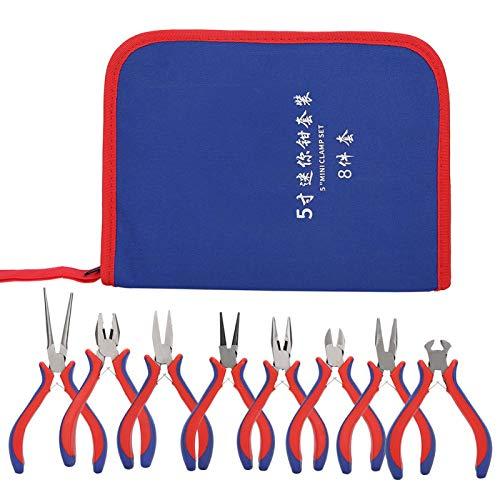 Alicates de punta de aguja de 8 piezas, firmes y duraderos, con bolsa de tela Oxford, suministro de arte(Double color handle 5 inch)