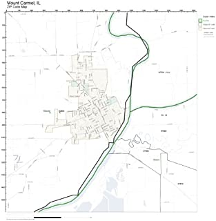 ZIP Code Wall Map of Mount Carmel, IL ZIP Code Map Laminated