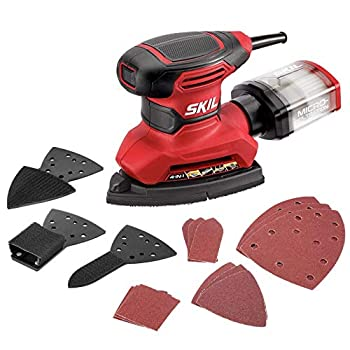 SKIL Corded Multi-Function Detail Sander with Micro-Filter Dust Box 3 Additional Attachments & 12pc Sanding Sheet- SR232301