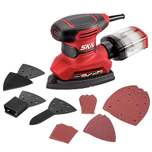 Product Image of the SKIL Corded Multi-Function Detail Sander, Includes 12pcs Sanding Paper, 3pcs Additional Detail Attachment, Dust Box - SR232301