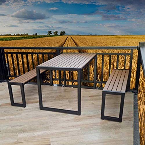 FACAIA 3-piece set of outdoor patio table and chair garden furniture, garden leisure solid wood negotiation table and chair, 2-seater metal dining table and chair combination, for cafe/restaurant