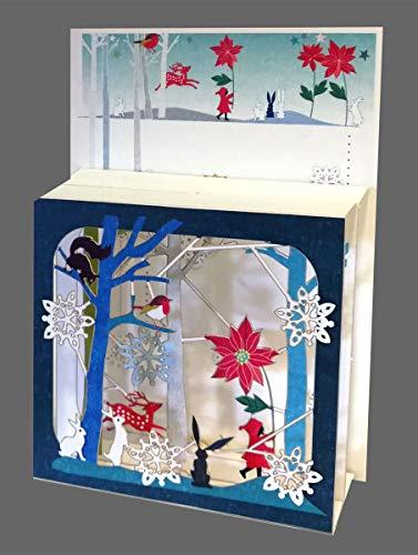 Forever - Tarjeta de Navidad con 3 niveles (láser, 17 x 13 cm), diseño de flores
