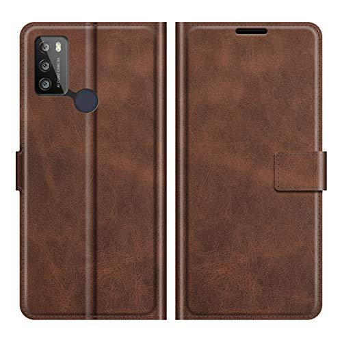 DAMAIJIA für Alcatel 1S 2021 Hüllen Klapphülle PU Leder Silikon Wallet Schutzhülle Schutz Mobiltelefon Flip Back Cover für Alcatel 3L 2021 Tasche Handy Zubehör (Brown)