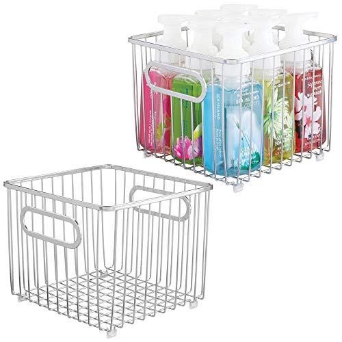 mDesign Juego de 2 cestas de almacenaje en metal con asas integradas – Caja organizadora pequeña con atractivo diseño de alambre – Ideal como organizador de baño para cosméticos – plateado