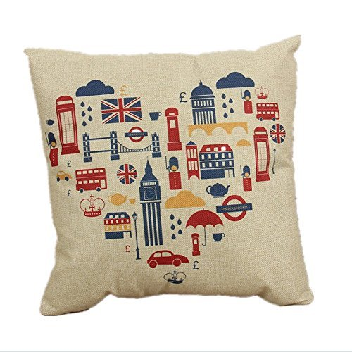 8888CASE Biodawn Cotton London Square Decorative Pillow Case Cushion Cover Copricuscini e federe (50cmx50cm)